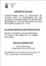 ABIERTO EL PLAZO DE AYUDAS PARA EL TRASPORTE